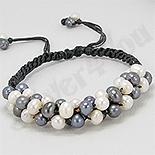 Bratara perle albe si negre cu piele neagra - PK1462