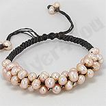 Bratara perle roz cu piele neagra - PK1463
