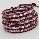 Bratara colier piele maro agate roz - PK2278