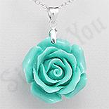 Pandantiv argint floare trandafir culoare turcuaz verde - PK2329