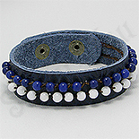 Bratara piele albastra pietre albe albastre - PK2300