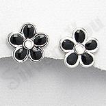 Cercei argint floare petale negre - PK1929