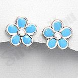 Cercei argint floare petale bleu - PK1930