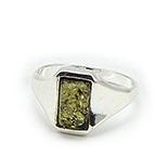 Inel argint cu chihlimbar verde - IC111