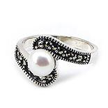 Inel argint cu marcasit si perla - IO242