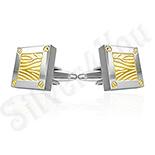 Butoni inox cu portiuni aurite - BB408