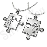 Pandantive inox cuplu puzzle + 2 lanturi - PF463A