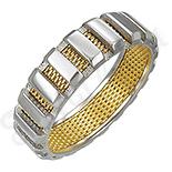 Inel inox cu portiuni aurite - IF428