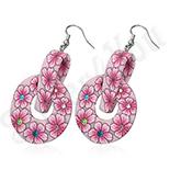 Cercei fimo cu flori roz - BF1216
