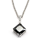Lant cu pandantiv din argint cu zirconii si onix - LF1006