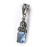Pandantiv argint marcasit si zircon bleu - BF5076