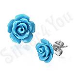 Cercei inox floare albastra - PK1540