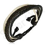 Bratara piele maro sireturi alb si negru - PK1662
