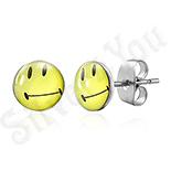 Cercei inox Smiley Face galbeni - BM262