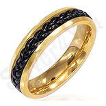Inel inox aurit cu lant negru - PK1511