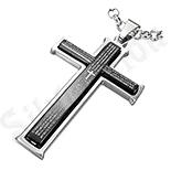 Pandantiv inox cruce negru si gri cu rugaciune - PK1805