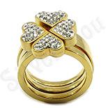 Set inele inox aurit si cristale albe - BR6038