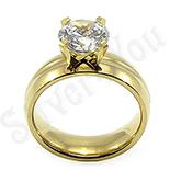 Inel inox aurit cu zircon alb - BR6034