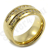 Verigheta inox aurit cu zirconii albe - BR6042