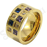 Inel inox aurit si zirconii colorate - BR6103