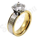 Inel inox aurit cu zircon alb - BR6101