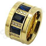 Inel inox aurit si zirconii culoarea safir si albe - BR6204