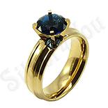 Inel inox aurit cu zircon albastru safir - BR6143