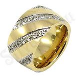 Inel inox aurit cu zirconii albe - BR6156
