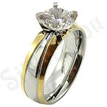 Inel inox aurit cu zircon alb - BR6312