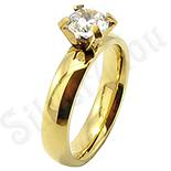 Inel inox aurit cu zircon alb - BR6314
