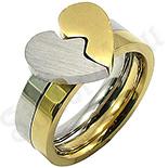 Set inele inox inimioara model aurit - BR6436