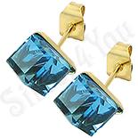 Cercei inox cu piatra cubica bleu/ 5 mm - BR6454