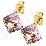 Cercei inox cu piatra cubica roz/ 5 mm - BR6453