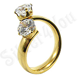 Inel inox aurit cu zirconii albe - BR6354