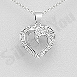 Pandantiv argint inima cu zirconii albe - AR134