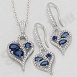 Set argint inima cu zirconii albastre si albi - AR174