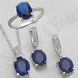 Set argint inel, cercei si pandant cu zirconiu albastru - AR175