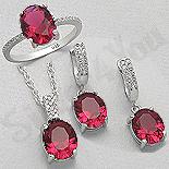 Set argint inel, cercei si pandant cu zirconiu rosu - AR175R