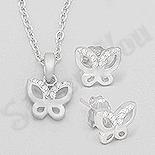 Set argint fluturas cu zirconii albe - AR176