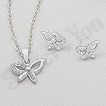 Set argint fluturas cu zirconii albe - AR177