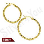 Cercei inox model rasucit in culoarea aurului/3 cm - ST301