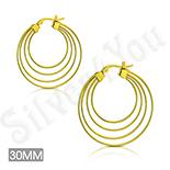 Cercei inox aurii cu 4 cercuri - ST112