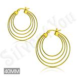 Cercei inox aurii cu 4 cercuri/ 4 cm - ST113