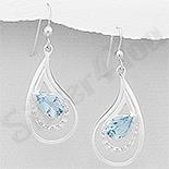 Cercei argint lacrima cu topaz bleu - AR305