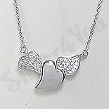 Colier argint cu 3 inimi unite si zirconii albe - AR150