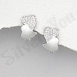 Cercei argint inimioare cu zirconii albe - AR167