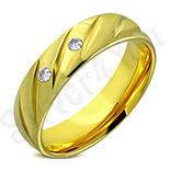 Verigheta inox in culoarea aurului cu zirconii albe - LR5088