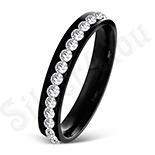 Inel inox negru cu zirconii albe - LR5083