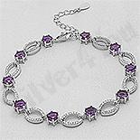 Bratara argint cu zirconii violet si albe - AR127