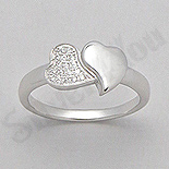 Inel argint 2 inimi cu zirconii albe - AR139
